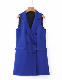 Fashion Sapphire Double-breasted Suit Vest