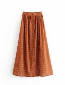 Fashion Brown Yellow Wavelet Dot Single Breasted Skirt