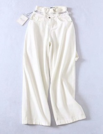 Fashion White Washed Cutout Denim Straight Pants
