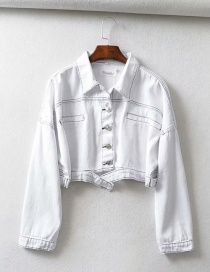 Fashion White Topstitched Denim Jacket