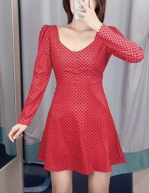 Fashion Red Dot Print V-neck Dress