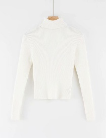 Fashion White Turtleneck Knitted T-shirt