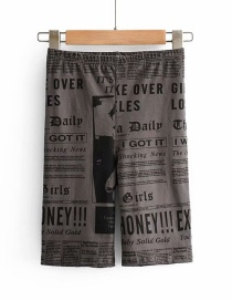Fashion Gray Newspaper Print Cropped Trousers