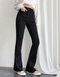 Fashion black Washed High-rise Stretch-flare Jeans
