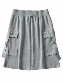 Fashion Gray Pocket Zipped Knitted A-line Skirt
