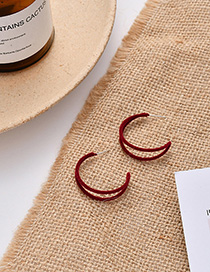 Fashion Red Wine Flocking C-shaped Cutout Earrings