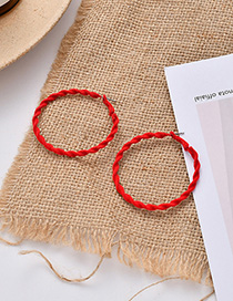 Fashion Red Flocked Round Spiral Earrings