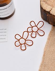 Fashion Brown Suede Irregular Flower Pierced Earrings