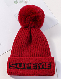 Fashion Wine Red Knitted Wool Alphabet Wool Ball Hat