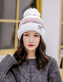 Fashion White Stitched Contrast Knitted Wool Hat