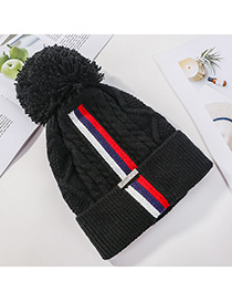 Fashion Black Knitted Colorblock Striped Plus Fleece Hat