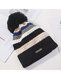 Fashion Black Stitched Contrast Color Padded Knitted Hat