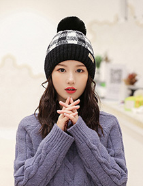 Fashion Black Color-block Plaid Plush Ball-trimmed Knitted Hat
