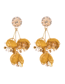 Fashion Yellow Alloy Pearl Studded Flower Earrings