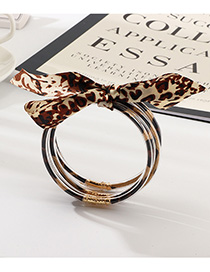 Fashion Leopard Print Plastic Tube Gold Sequin Ribbon Winding Bracelet