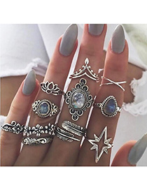 Fashion Ancient Silver Feather Flower Star Openwork Geometric Ring Set
