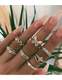Fashion Golden Diamond Butterfly Flower Leaf Geometric Festival Ring Set