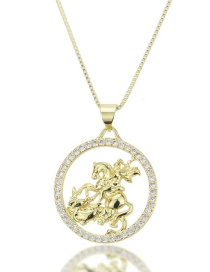 Fashion Gold-plated Knight Diamond Openwork Necklace