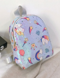Fashion Figure Four Blue Pony Sequined Rainbow Star Backpack
