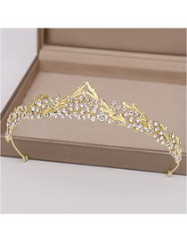 Fashion Light Gold Crown Crown Hoop With Diamonds