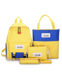 Fashion Yellow Four-piece Backpack With Stitched Contrast Buckle Letters