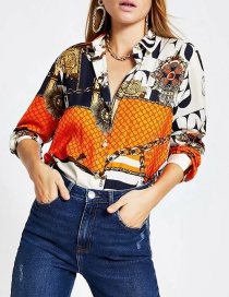 Fashion Color Chain Contrast Printed Long Sleeve Shirt