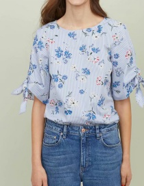 Fashion Blue Striped Printed Bow-sleeve Top