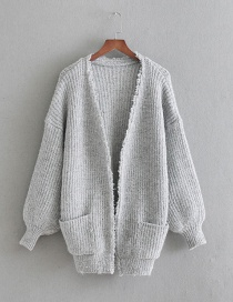 Fashion Gray Wool-blend Cardigan Sweater With Pockets