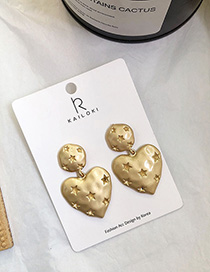 Fashion Golden Pure Chisel Star Love Stud Earrings