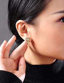 Fashion Golden Frog Prince Earrings With Diamonds