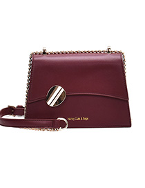 Fashion Red Wine Chain Flap Stamped Letter One Shoulder Crossbody Bag