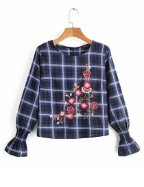 Fashion Blue Checked Flower Embroidered Bell Sleeve Top