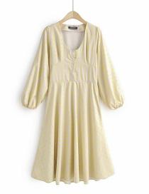 Fashion Light Yellow U-neck Patchwork Printed Dress