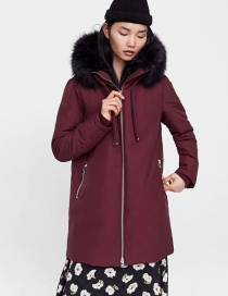 Fashion Red Wine Long Sleeves With Hooded Fur Collar And Elasticated Cuffs