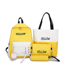 Fashion Yellow Contrast Four-piece Backpack With Contrast Straps