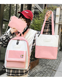 Fashion Pink Three-piece Backpack With Stitched Contrast Stripes