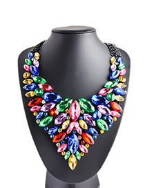Fashion Color Zinc Alloy Diamond Necklace