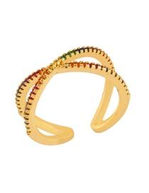 Fashion Golden Open Geometric Cross Diamond Ring