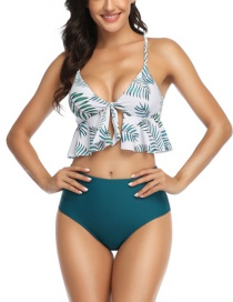 Fashion Floral Top + Teal High Waist Ruffled Contrast Printed Split Swimsuit