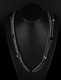 Fashion Silver Crystal Multi-layer Geometric Necklace