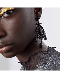 Fashion Black Geometric Water Drop Diamond Stud Earrings