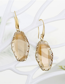 Fashion Brown Geometric Inlaid Crystal Multi-faceted Irregular Glass Earrings