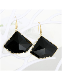 Fashion Black Geometric Polygon Crystal Multi-faceted Irregular Glass Earrings
