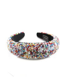 Fashion Color Crystal Bead Sponge Contrast Color Stitching Headband