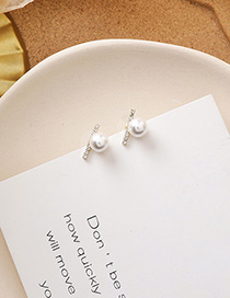 Fashion White Pearl Geometric Diamond Earrings