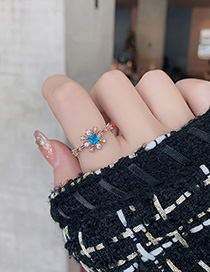 Fashion Blue Crystal Zircon Flower Geometric Ring