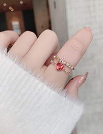 Fashion Red Love Ring With Crystal Zircon Flowers