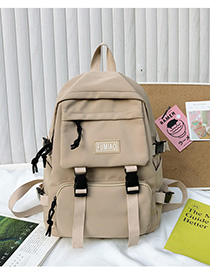 Fashion Khaki Nylon Backpack With Patch Letters