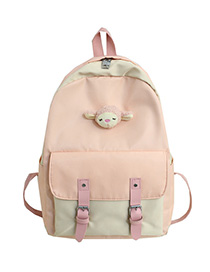 Fashion Pink Stitched Contrast Belt Buckle Backpack