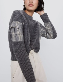 Fashion Dark Gray Contrast Contrast Knit Sweater
